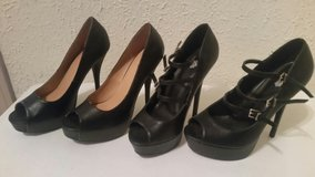 Black heels in new condition in Temecula, California