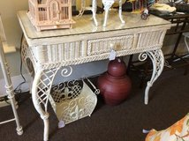 Wicker Desk w/ Tempered Glass Top- New Price in Beaufort, South Carolina