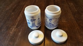 2  Beautiful milk glass asian inspired in Joliet, Illinois