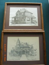 Pair of Victorian  Houses by Albert Dale Minear  ltd edition Drawing The Penney Palace & Waffle ... in Alamogordo, New Mexico