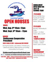 Preschool Open House Aug. 9th and Sept. 6th 10:00 am -12:00 pm in Fort Lewis, Washington