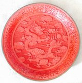 """CHINESE CARVED DRAGON CINNABAR RED LACQUER 12"""" PLATE in Okinawa, Japan"""