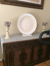 Shabby roman rustic vintage tribal aztec print pottery? XL decorative plate & stand in Glendale Heights, Illinois