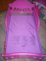 Toddler Bed with Mattress ~ Pink/Purple Frame (Dora Theme) & White Mattress ~ In Used Condition in Fort Riley, Kansas