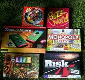 Party Games  Life(Pirates), Monopoly City, Risk, Uno Spin, Buzz-word, Toss n' Score in Batavia, Illinois