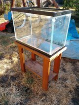 20 gallon aquarium with wooden stand in Travis AFB, California
