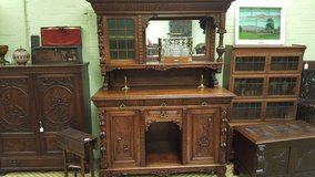 Carved Oak Mirrored Sideboard Others available Free Delivery in Lakenheath, UK