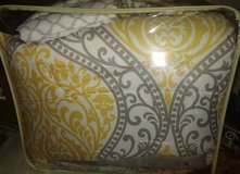 Yellow and Grey Queen Comforter Set Like New in Columbus, Georgia