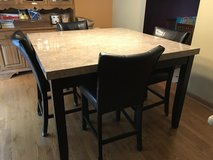 Dining set Marble top Counter Height Table, 4 Chairs in Elgin, Illinois