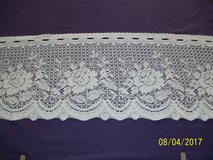 white rose pattern lace valance yardage for sale by the yard or the roll in Goldsboro, North Carolina