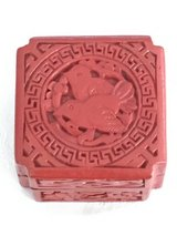 Chinese Carved cinnabar lacquer red box -Birds in Okinawa, Japan