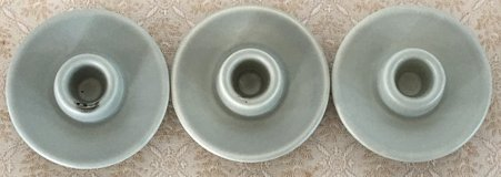 3 Light Green Ceramic Candle Holders in Okinawa, Japan
