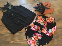 Cute top s $5shorts m $4 sandals 7.$15 ae in Leesville, Louisiana