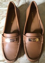 COACH FREDRICA Brown LEATHER Womens LOAFERS Flats Shoes Gold tone Hardware  Size 7B in Lockport, Illinois