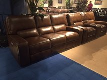 SALE! BRAND NEW! UPSCALE LEATHER LARGE COMFORTABLE SOFA + LOVE POWER RECLINER SET in Vista, California