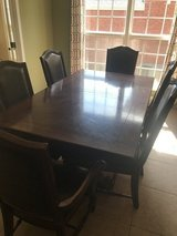 Wood Dining Room Table w/Leather grommet chairs in Fort Campbell, Kentucky