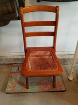 wood folding chair; weave seating needs repair in Naperville, Illinois
