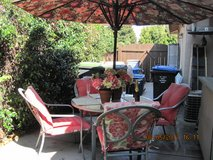 Patio Glass Table and 4 Chairs & Umbrella in Vacaville, California