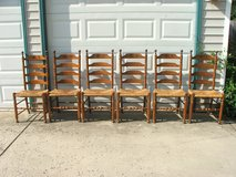 Hitchcock Early American Woven Rush Seat Ladder Back Chairs Set of 6 in Plainfield, Illinois