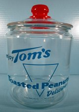 Toms Toasted Peanuts Original Advertising Sign Counter-Top Display Jar - Red Knob Lid Lance in Cherry Point, North Carolina