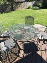 Wrought Iron Patio Table, 4 Chairs And New Grey Cushions Purchased This Summer in Glendale Heights, Illinois