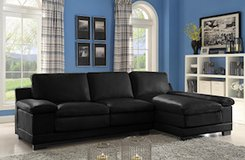BRAND NEW! BLACK LEATHER CONTEMPORARY SOFA CHAISE COMFORTABLE SECTIONAL !! in Vista, California