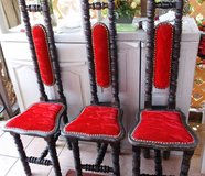 Three Red Wood and Velvet Chairs from Spain in Alamogordo, New Mexico