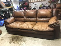 Leather couch in Beaufort, South Carolina