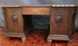 Antique Desk with Baroque Style Raised Carvings and Leather Top in Ramstein, Germany
