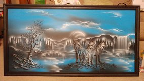 Framed wolf painting in Lawton, Oklahoma