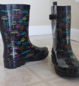 Pair of black umbrella print rain boots in York, Pennsylvania