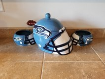Seahawks soup tureen and bowls in Olympia, Washington