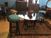 Bamboo table 2 bar stool serving cart inside or out in Conroe, Texas