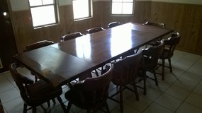 solid pine farm table with 10 chairs in Alamogordo, New Mexico