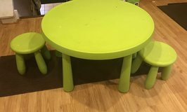 Kids ikea Table with 2 stools in Chicago, Illinois