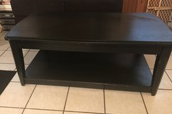 Black solid wood coffee table in Chicago, Illinois