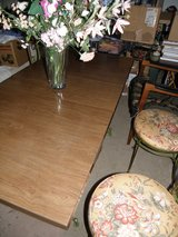 "Dining Room Table 30"" x 60"" (with Leaf) & 4 Custom Covered Cotton Bird Print Wrought Iron Chair ... in Wilmington, North Carolina"