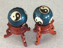 Chinese Chiming Ying Yang Baoding Harmony Balls w/Stands in Okinawa, Japan