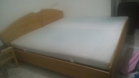 King Size wooden cot and mattress in Stuttgart, GE