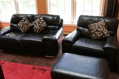 MOVING SALE - Black leather sofa, chair and ottoman also recliner chair in St. Charles, Illinois