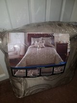 New / Full / Queen / 7 Piece Tan Satin Comforter Set in Fort Campbell, Kentucky