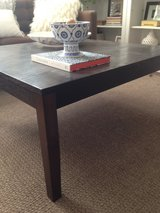 square wooden coffee table in Naperville, Illinois