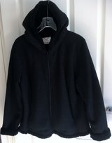 SUPER SOFT, FUZZY, HOODED DARK BLACK JACKET in Lakenheath, UK
