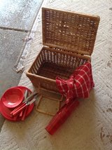 Vintage Picnic basket with accessories in Bartlett, Illinois