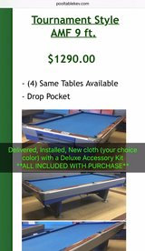Delivered, Installed, New cloth (your color), Deluxe Accessory Kit AMF 9 ft. Pool Table in Lockport, Illinois
