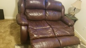 Burgendy/brown leather couch in Travis AFB, California