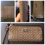 Coach leather & canvas wristlet in Yorkville, Illinois