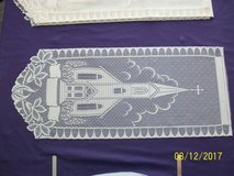 37 ivory lace church pattern wall hangings (unhemmed)--50 cents each in Goldsboro, North Carolina