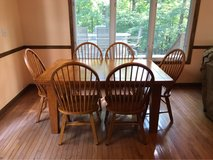 HEAVY SOLID kitchen table 2 leaf's, 10 chairs total in Fort Knox, Kentucky
