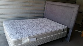 Full size mattress with box spring, headboard and metal frame in Fort Bliss, Texas